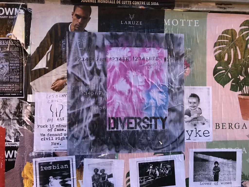Barbiemétrie. série FIGHT Diversity Collage, 100x100 quartier du Marais . 2017. Exposition Act up . Halles des Blancs Manteaux Act Up-Paris Walls A (4)
